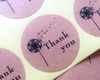 Thank you Dandelions Label stickers / 100 pcs