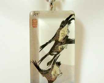 Geese in flight Japanese art pendant and chain - BGP12-024