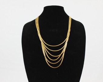 Vintage Six Strand Gold Tone Necklace
