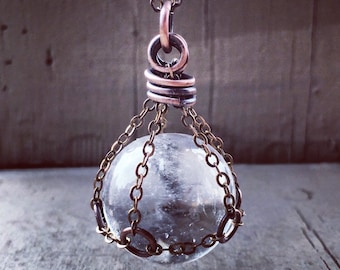 Crystal Ball Necklace Quartz Crystal Healing Crystal Clear Crystal Crystal Necklace daniellerosebean gemstone Pendant witchy