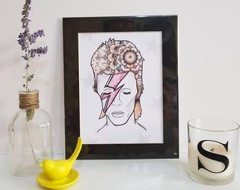 David Bowie Ziggy Stardust Mounted Print