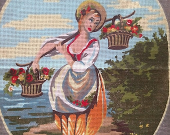 Vintage European Style Needlepoint Canvas Featuring a Girl Carrying Two Baskets of Flowers