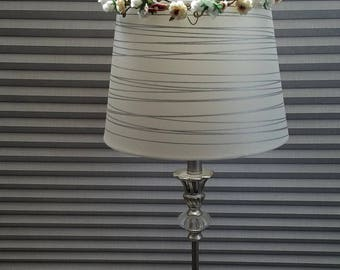 Ivory shabby Floral Home Decor Lamp Shade silk flower wreath accent decoration Made IN Michigan arrangement fall hostess housewarming gift