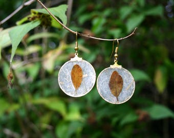Earrings Autumn leaf-handmade with plant leaves, paper