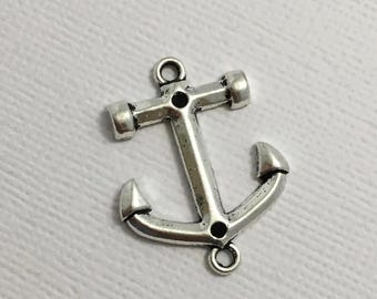 Anchor Connector Charms x 5 Silver Pendant Boat Ship Nautical Jewellery Z173