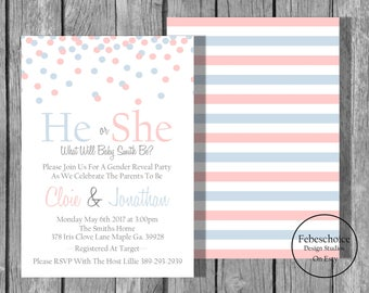 Gender Reveal Invitation / Gender Reveal Invitation Printable / Gender Reveal Invites / Baby Shower Invitation / Gender Reveal Party Invite