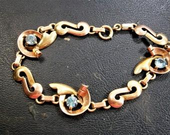 "Synthetic Blue Zircon Bracelet, 14K Yellow Gold Free Form Design, Circa 1940's - 1950's, Retro Gold Bracelet, Prong set Zircons, 7 1/2"" Long"
