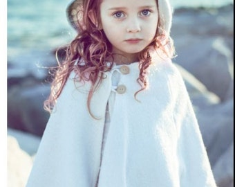 Girls Cape in Boiled Wool- AS SEEN in FoHr Magazine- White Capelet with Hood- Flower Girls Cape- Fall Winter Weddings
