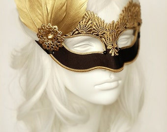 Black & Gold Lace Masquerade Mask - Venetian Style Halloween Mask With Feathers - For Masquerade Ball, Prom, Costume Party, Wedding