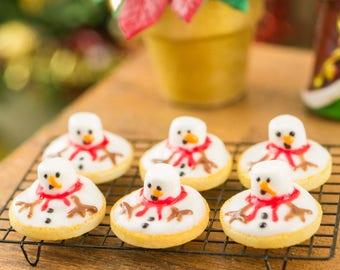 Made to Order Melting Snowman Cookies - Half Dozen - 1:12 Dollhouse Miniature