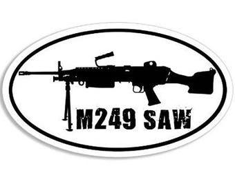 Oval M249 Saw Military Gun Sticker (sniper rifle)