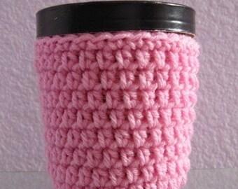 Pink Ice Cream Cozy Pint Cover Crocheted Yogurt Coaster Sleeve