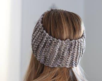 Gray Headband - Womens Knit Headband - Gray Hairband - Gray Messy Bun Hat - Chunky Winter Headband - Knit Hairband - Winter Hair Accessories