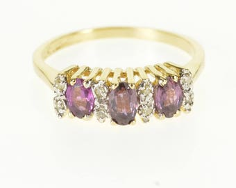 14k Diamond Rhodolite Three Stone Accented Ring Gold