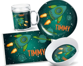 Space, Galaxy, Kids Gift, Dinnerware, Tableware Set, Laminated Placemat, Personalized Gifts, Kids Plastic Mug, Sister Birthday Gift, Baby