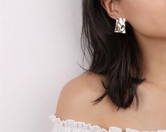 Geo Textured Rectangle Earrings - Minimal Geo Studs - Minimalist Earrings