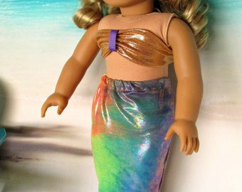 Gold/Rainbow Irridescent Mermaid Outfit, Gold Mermaid Top, Rainbow Irridescent Tail, fits 18 inch dolls such as American Girl dolls
