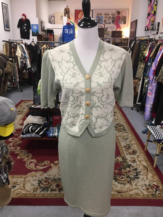 Vintage 1980s Wool Knit St. John's Sweater/Skirt Suit
