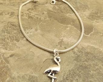 Sterling Silver Flamingo Charm on a Sterling Silver Slim European Charm Bracelet  (1056/1429)