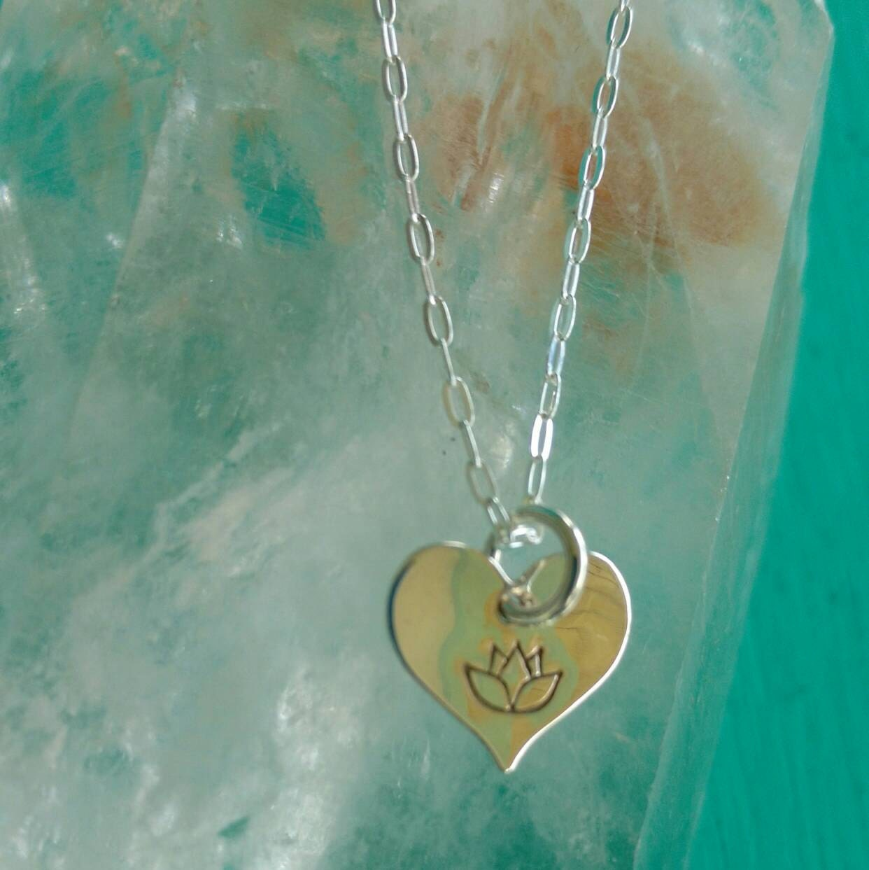 Lotus Love Charm Lotus Flower Jewelry Tiny Heart Necklace With