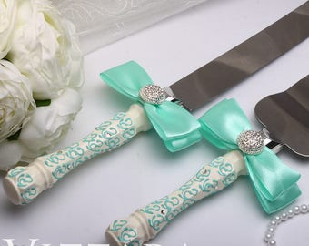 personalised wedding cake knife set Mint Wedding Mint Cake servers knives Wedding accessories Wedding set mint wedding ideas wedding tiffany