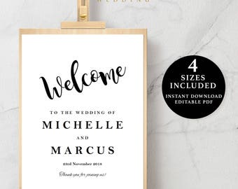 Welcome Sign Template, 16x20, 18x24, 20x30, 24x36, Instant Download Printable, Editable PDF, EWSC006