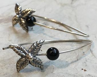 Black onyx hook earrings, Silver leaf earrings, drop earrings, gemstone earrings, botanical jewelry, dangle earrings - Discovery E8062