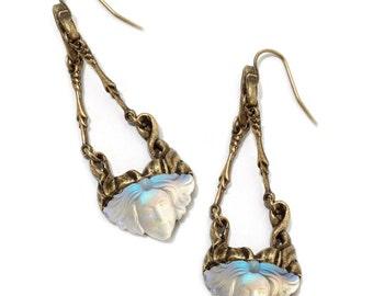 Futura Art Nouveau Earrings, Vintage Style Jewelry, Art Glass Maiden, Art Nouveau Jewelry, Iridescent Glass, Unique Jewelry Gift E114