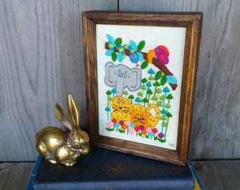Vintage Crewel Embroidery Jungle Wild Animals Nursery Decor Baby's Room Wall Decor