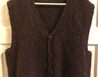 Vintage Brown Knit Button Up Vest • Size LARGE
