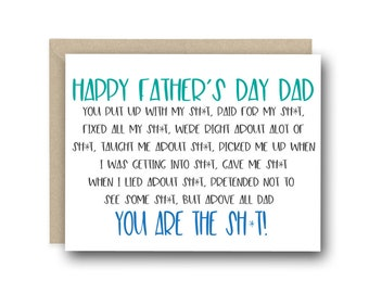 Funny Father's Day Card for Dad - Happy Father's Day Dad. You Are The Sh*t - Dad Card, Father's Day Gift, Funny Card for Dad, Thanks Dad