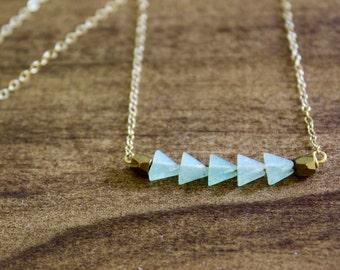aventurine triangle bar necklace triangle necklace simple necklace gold necklace silver necklace aventurine necklace geometric necklace