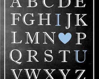 ABC I Love You Chalkboard Digital Print