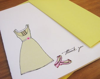 Dress and Shoes Thank You and Hello Notecard and Sticker Gift Set