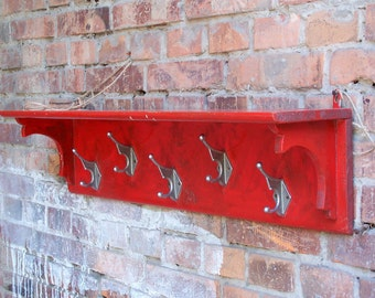Vintage Wooden Carved Coat Rack. Rustic Design. Coat Hooks. Red Hanger. Hatrack. Soviet Era