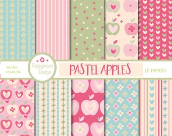 Pastel apples, paper pack,apples,gingham,stripe and polka dots ,pink and green backgrounds.