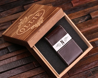 Holiday card holder etsy personalized leather engraved monogrammed business card holder groomsmen graduation christmas holiday gift him and reheart Images