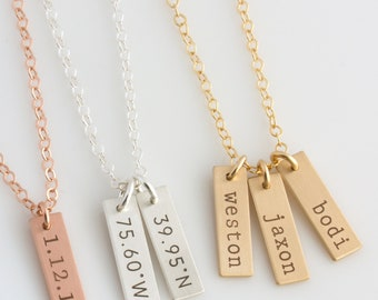 Personalized Bar Tag Necklace,Mothers Day Gift,Dates,Initial,Dainty Vertical Tags,Custom Engraved Initial Necklace Gift for Mom,Gift for Her