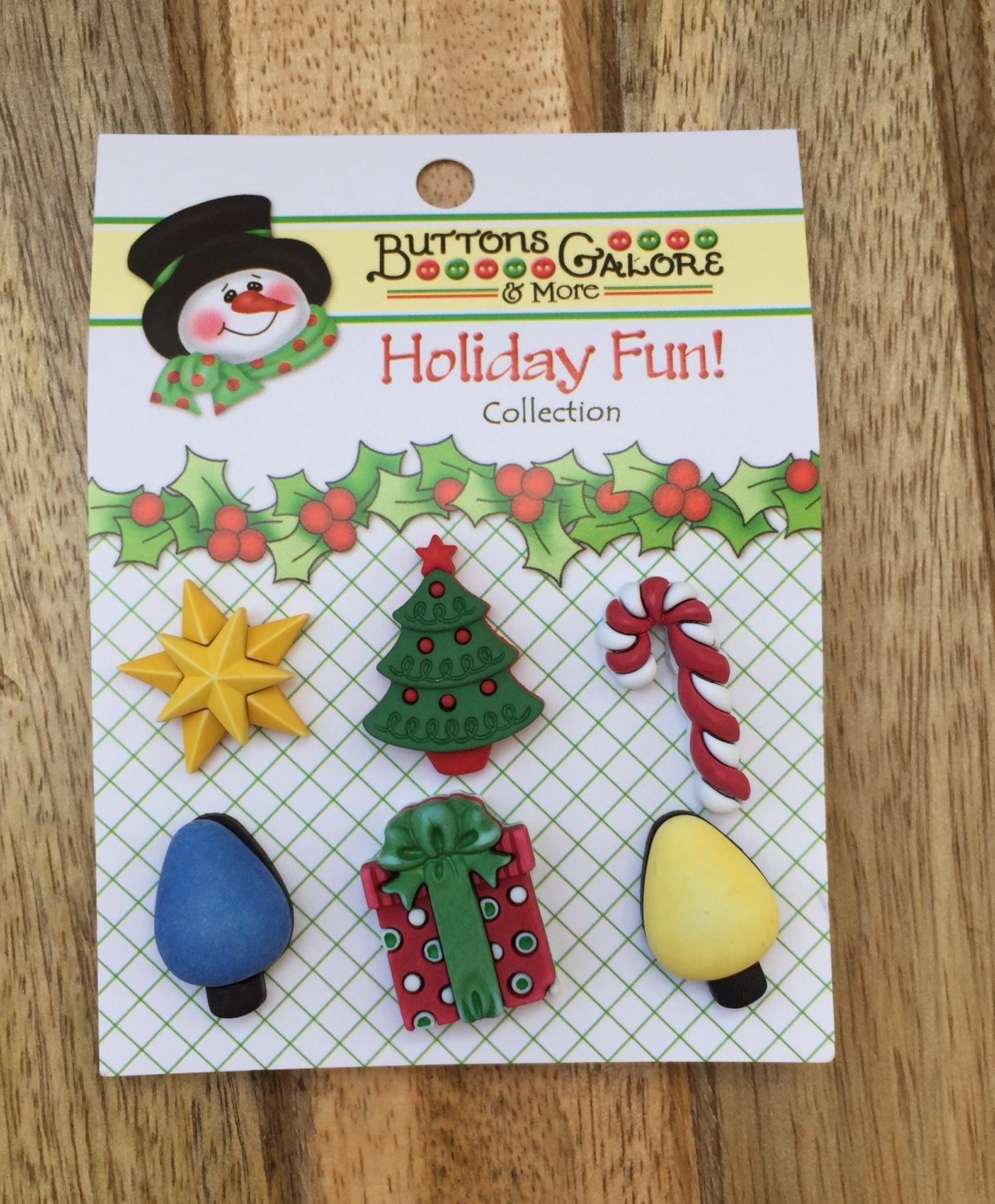 holiday buttons christmas tree star candy lights present novelty buttons by buttons galore good tidings holiday fun collection