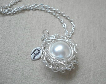 Bird Nest Necklace Pearl Nest Pendant Pregnancy Necklace Spring Necklace Personalized Nest Birdnest Pendant Mom Necklace Nest Jewelry