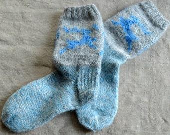 Deer Socks, Boot Socks, Knitted Legwarmers, Wool Socks, Deer Knitwear, Christmas Socks for Men, Socks for Women, Blue Raindeer Ornament