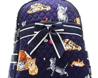 Cat Kitten Print Quilted Monogrammed Backpack