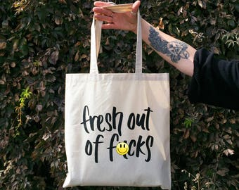 "Fresh Out Of F-cks Lightweight Canvas Tote Bag, 15"" W x 16"" H, Reusable Shopping Bag"