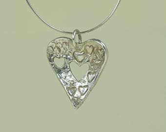 Fine Silver Handcrafted Heart  to Heart Pendant