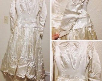 1940s Vintage White Satin Wedding Dress Bow Bustle Linen Retro Style Antique Gown Post WWII Elegant Luxurious