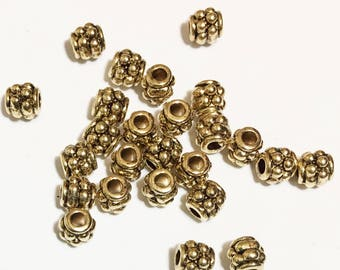 50 pcs of antique Gold Drum spacer beads 4x4mm,  metal spacer beads