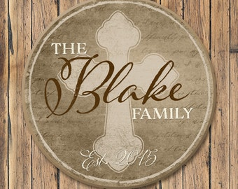 Round Personalized Family Name Sign, Family Name Wood Plaque, Family Established Sign With Cross, 4 Sizes
