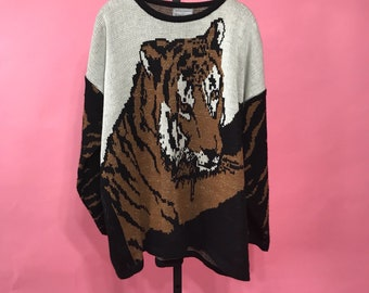 80s Tiger Cream and Gold Sweater/ Tiger Sweater with Gold Threading Accent/ M/ L