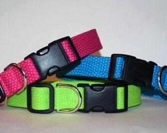 Dog Collar – Fluorescent Dog Collar – Fluorescent Dots Dog Collar – Bright Dog Collar – Neon Dog Collar - Handmade Fabric Dog Collar