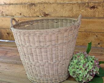 "Vintage Gathering Orchard Basket, Large 14""H x 18""W, Reed Woven  Wicker Authentic Farm Basket, Rustic, Farmhouse Storage, Barn Wedding"